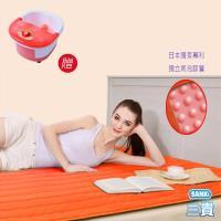 買一送一 日本SANKI 獨立氣泡發熱墊(時尚橙)+中桶足浴機