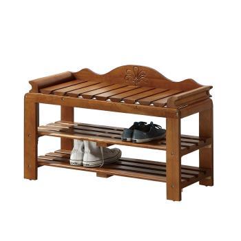 Bernice-刻花3尺全實木開放式座式鞋櫃/穿鞋椅