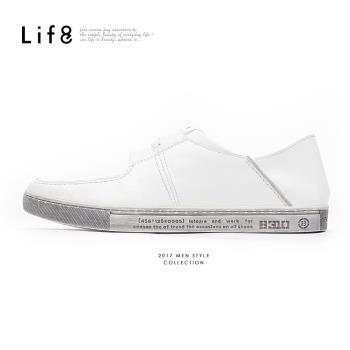 Life8-Casual 2way後踩 街頭風休閒鞋-白色/黑色-09822