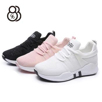88%透氣輕便舒服厚跟4.5cm綁帶休閒鞋運動鞋跑步鞋
