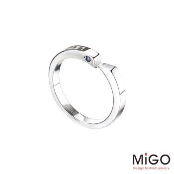 MiGO 牽手鑽石/藍寶石/白鋼男戒指
