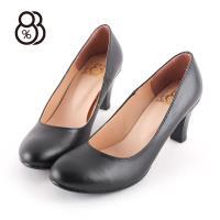 88%加大尺碼MIT台灣製舒適OL皮鞋圓頭職業鞋通勤鞋上班6cm中跟