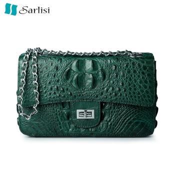 Sarlisi清麗臻蘊美洲鱷魚皮2.55鍊帶包-墨綠色
