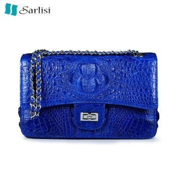 Sarlisi清麗臻蘊美洲鱷魚皮2.55鍊帶包-藍色