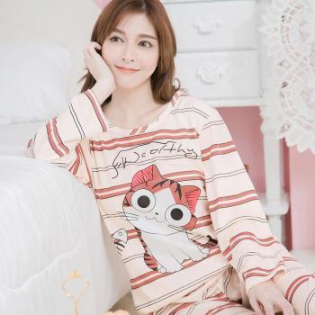 lingling日系 橫條紋大眼貓牛奶絲長袖二件式睡衣組(清透粉膚)全尺碼