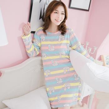 lingling日系 橫條折耳兔子牛奶絲長袖連身裙睡衣(休閒灰)全尺碼