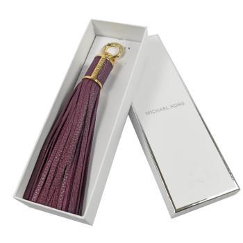MICHAEL KORS 全皮革流蘇鑰匙吊飾禮盒組.紫芋