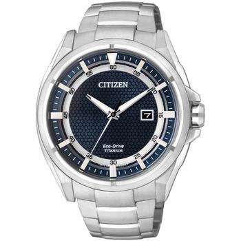 CITIZEN Eco-Drive 超級鈦光動能時尚腕錶-藍 43mm AW1401-50L