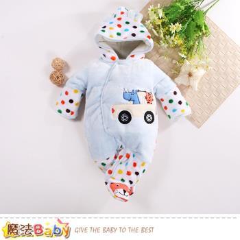 魔法Baby 嬰兒包屁衣 超厚鋪棉細絨極暖連帽包腳連身衣~k60637