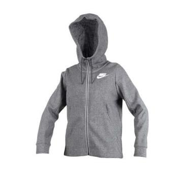 NIKE 女針織連帽外套-慢跑 路跑 訓練 立領外套 長袖外套 灰白