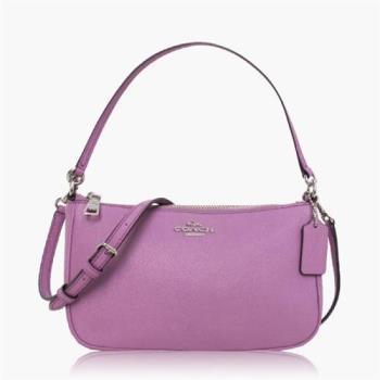COACH 多種背法 十字紋皮革 / 肩背 / 斜背兩用包(小款) 淺紫