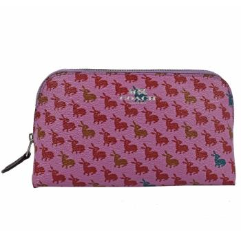 COACH 13528 經典LOGO烙印兔子圖案萬用包/化妝包.桃紅