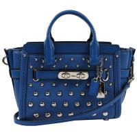 COACH 57138 SWAGGER全皮革鉚釘旋釦飾條迷你兩用包.藍