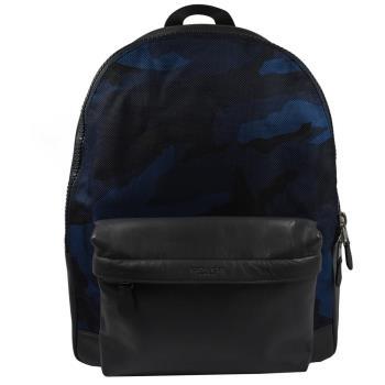 COACH 21556 經典LOGO烙印迷彩皮革尼龍拼接後背包.黑藍