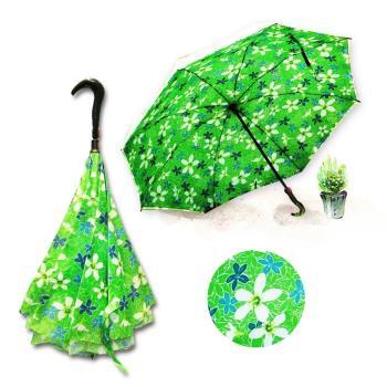好雅也欣-雙層傘布散熱專利反向傘-浪漫台三線-桐花系列(綠花)