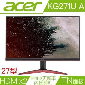 ACER宏碁 KG271U A 27型1毫秒144Hz更新率FreeSync電競液晶螢幕