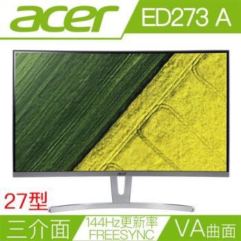 ACER宏碁 ED273 A 27型VA曲面144Hz更新率FreeSync電競液晶螢幕