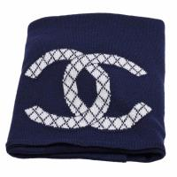 CHANEL 經典菱格雙C LOGO造型針織披巾/圍巾(海軍籃)