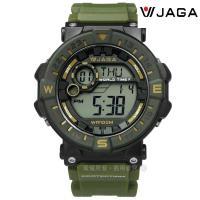 JAGA 捷卡 / M1131-AF / 活力電子運動計時鬧鈴防水橡膠手錶 綠黑色 49mm