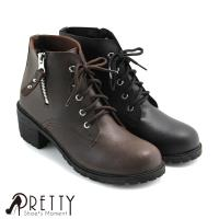 Pretty 個性綁帶中粗跟短靴BA-27020