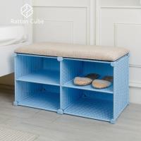 藤立方 組合穿鞋椅(附2片層板)-DIY