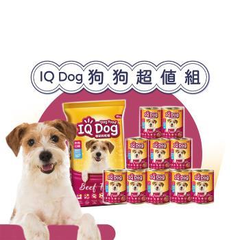 【狗狗超值組】IQ Dog 系列乾狗糧15kg*1包+狗罐400g*1箱 (牛肉/雞肉隨機出貨)