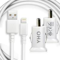 YHO for iPHONE X/iphone 8/8 Plus/7/6/5/ipad系列用車充組(傳輸線+雙孔車充頭)