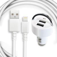 For iPad pro 9.7吋/Air2/mini4/iPad4 適用車充組(副廠的充電傳輸線+雙孔車充頭)