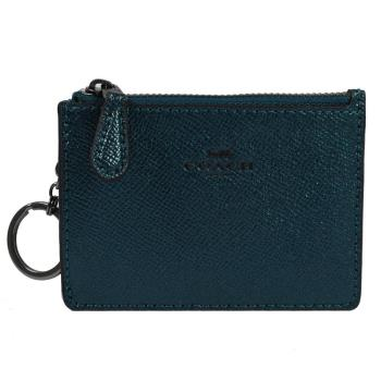 COACH 21072 經典LOGO防刮皮革證件鑰匙零錢包.金屬綠