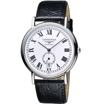 LONGINES 浪琴 Presence 經典小秒針機械手錶-白 38.5mm L48054112