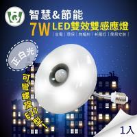 【U want】7W大照明LED 雙效雙感應燈(可彎螺旋型)(正白光)