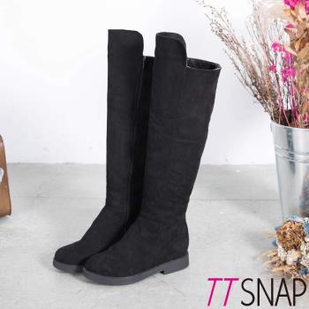 TTSNAP長靴-美腿顯瘦側拉鍊平底過膝靴 黑