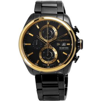 elegantsis / ELJT42R-6B04MA 男仕時尚洗鍊感設計三環黑鋼腕錶 黑色x金色 45mm