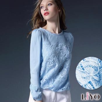 上衣蕾絲拼接鏤空雕花優雅雪紡上衣LIYO理優E745026