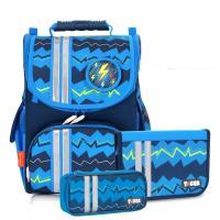 ~TigerFamily~ 小貴族超輕量護脊書包~藍色條紋 含文具袋 可拆式鉛筆盒