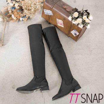 TTSNAP長靴-歐美時尚鉚釘尖頭平底過膝靴 黑