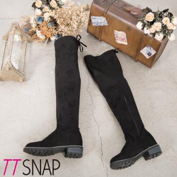 TTSNAP長靴-顯瘦纖腿細緻絨面側拉鍊過膝靴 黑