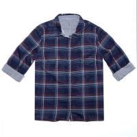 Timberland女款航海藍條紋雙層布料雙面七分袖格紋襯衫A1M9FJ40