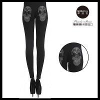 【摩達客】英國進口義大利製Pamela Mann  搖滾骷髏金屬感貼鑽黑色內搭褲 (打底褲/ 鉛筆褲)