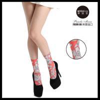 【摩達客】英國進口義大利製Pamela Mann  橘紅花群彈性短襪/腳踝襪
