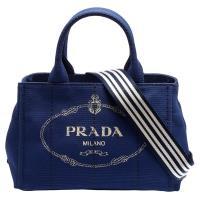 PRADA CANAPA金色三角LOGO帆布縫線造型條紋背帶手提斜背包(藏藍)