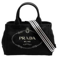 PRADA CANAPA金色三角LOGO帆布縫線造型條紋背帶手提斜背包(黑)