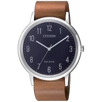 【CITIZEN 星辰】GENTS系列低調簡約品味時尚光動能皮帶腕錶-駝色x藍(BJ6501-10L)