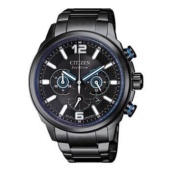 CITIZEN星辰 限量Eco-Drive光動能賽車三眼計時男錶-藍x黑鋼帶/43mm(CA4385-80E)