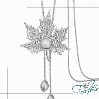 伊飾童話 珍珠楓葉 滿鑽活動流蘇長鍊 銀