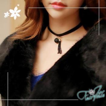 伊飾童話 皮繩緞帶 黑珍珠流蘇短頸鍊