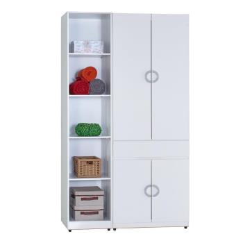 【AT HOME】凱倫4尺白色兩件組合衣櫃[中抽掀鏡+五格](110*54*197cm)