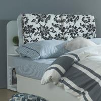 AT HOME 北歐設計5尺白色花布雙人收納床頭箱(153*24*104cm)