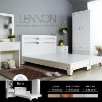 H&D 藍儂田園鄉村風系列雙人房間組5件式(床頭+床底+二抽櫃+衣櫃+鏡台)-4色