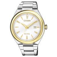 CITIZEN 星辰 光動能簡約手錶-銀x金圈/41mm AW1374-51B